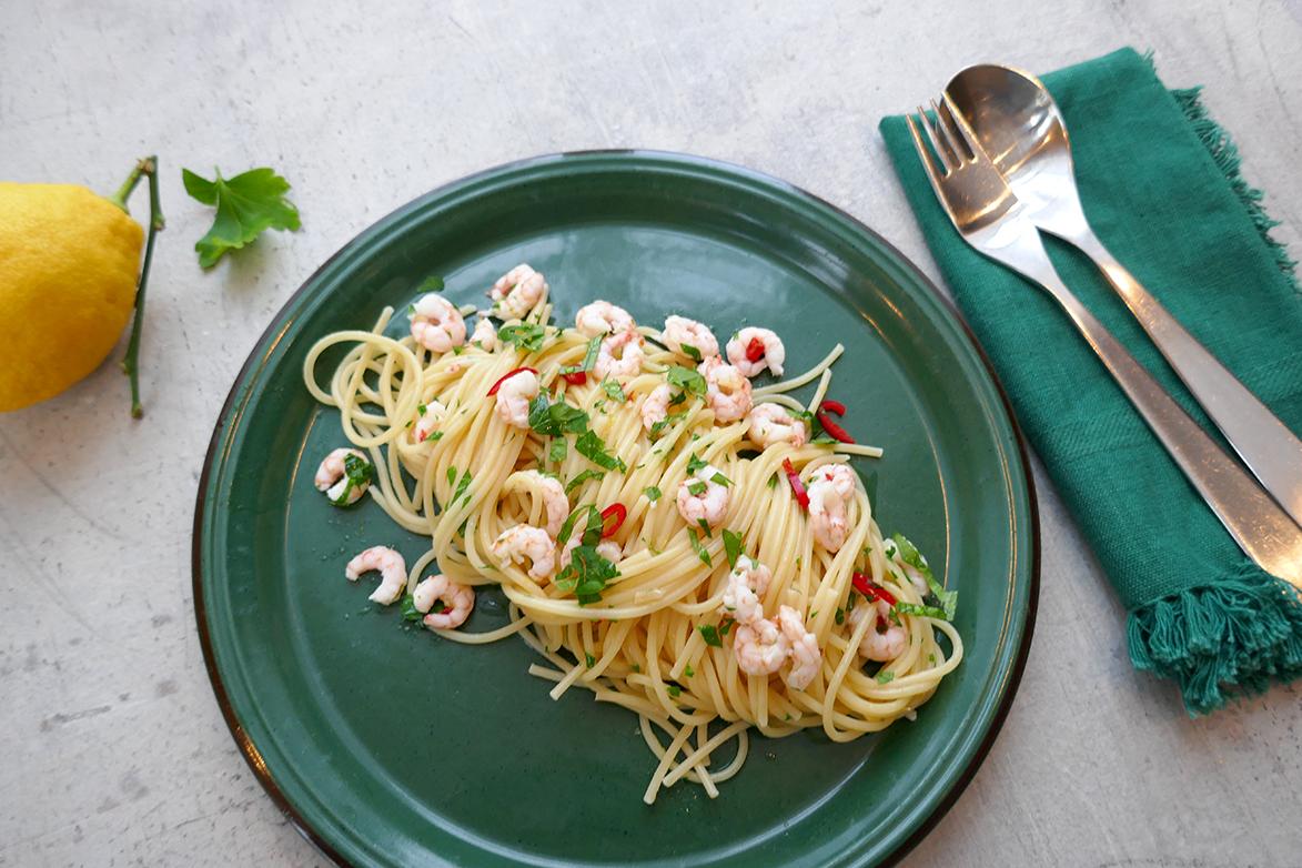 Spagetti med sitron og reker