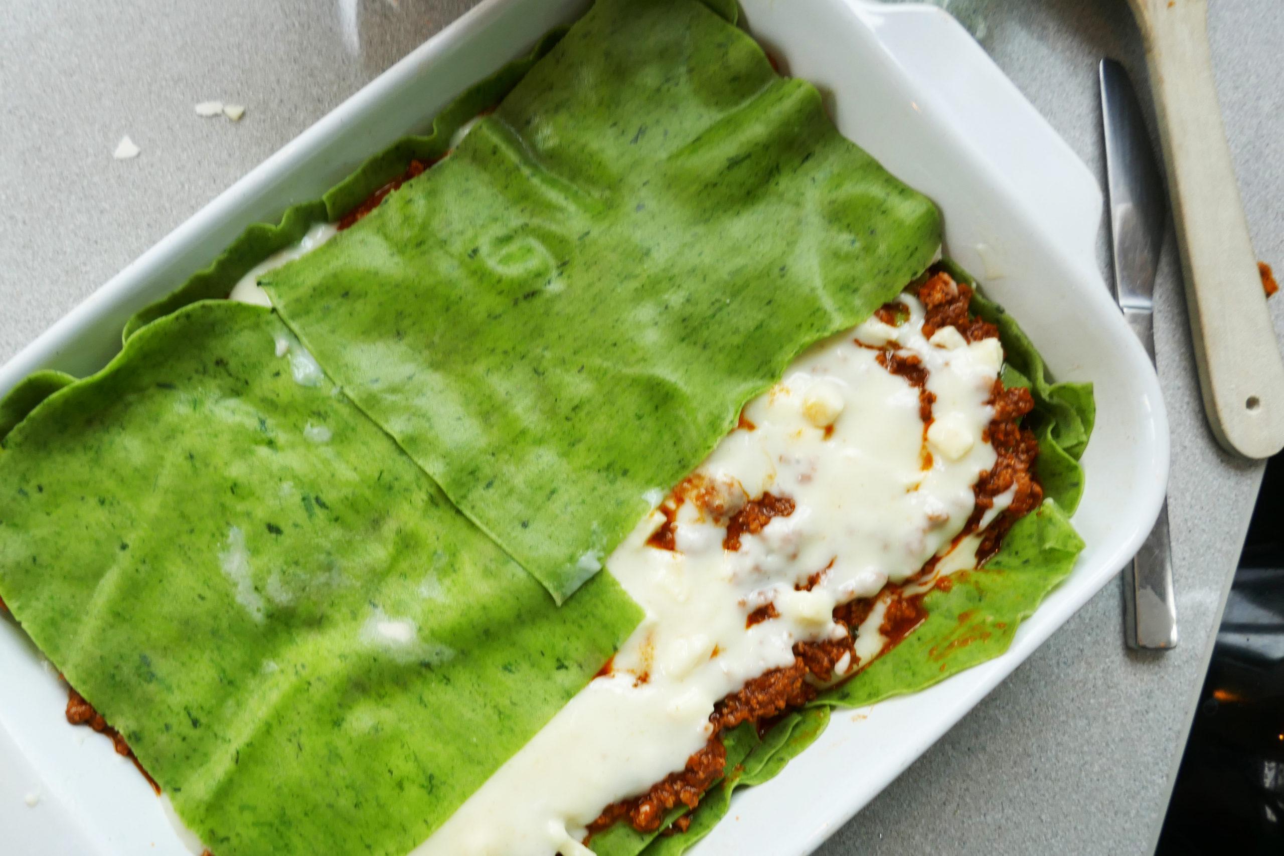 Lasagne med grønne plater